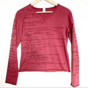 Prana Embroidered Crop Long Sleeve Yoga Top Red M